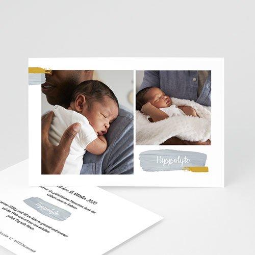Geburtskarten mit Fotos Pinselstriche