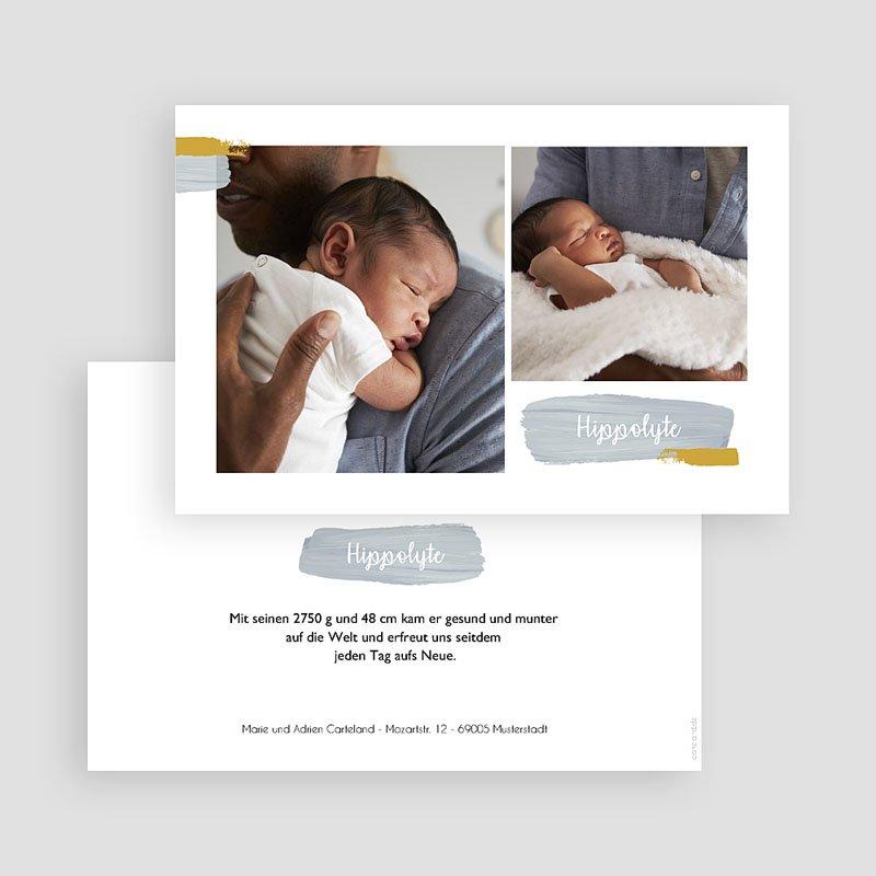Geburtskarten mit Fotos Pinselstriche gratuit