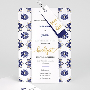 Orientalische Hochzeitskarten  - Ottomane Blau - 0