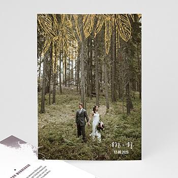 Dankeskarten Hochzeit mit Foto - Heart Wood - 0