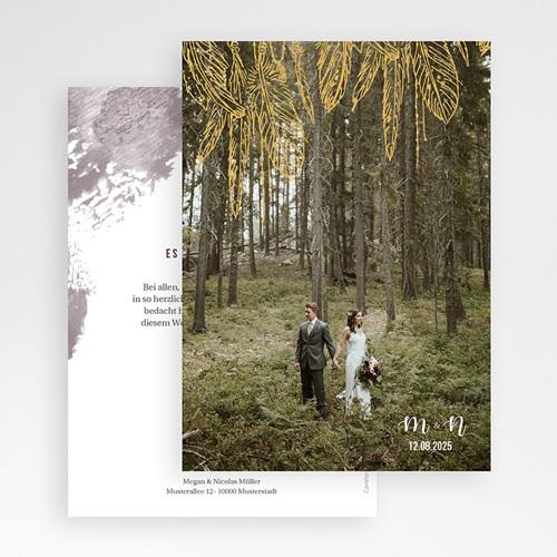 Dankeskarten Hochzeit mit Foto - Heart Wood 59175 thumb