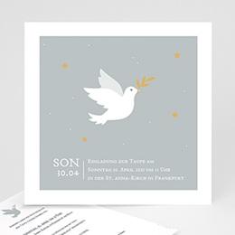 Einladungskarten Taufe Jungen  Kleine Taube