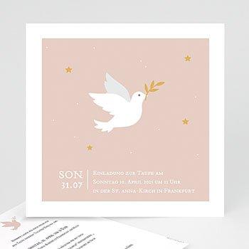 Einladungskarten Taufe Mädchen - Taube rosa - 0