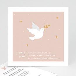 Karten Taufe Taube rosa