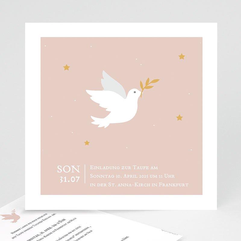 Einladungskarten Taufe Mädchen - Taube rosa 59230 thumb