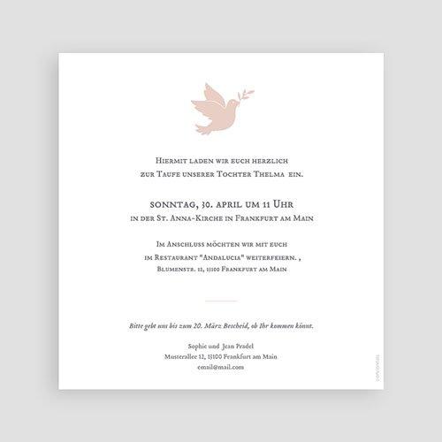 Einladungskarten Taufe Mädchen - Taube rosa 59231 thumb