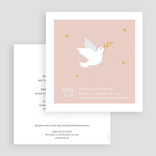 Einladungskarten Taufe Mädchen - Taube rosa 59232 thumb