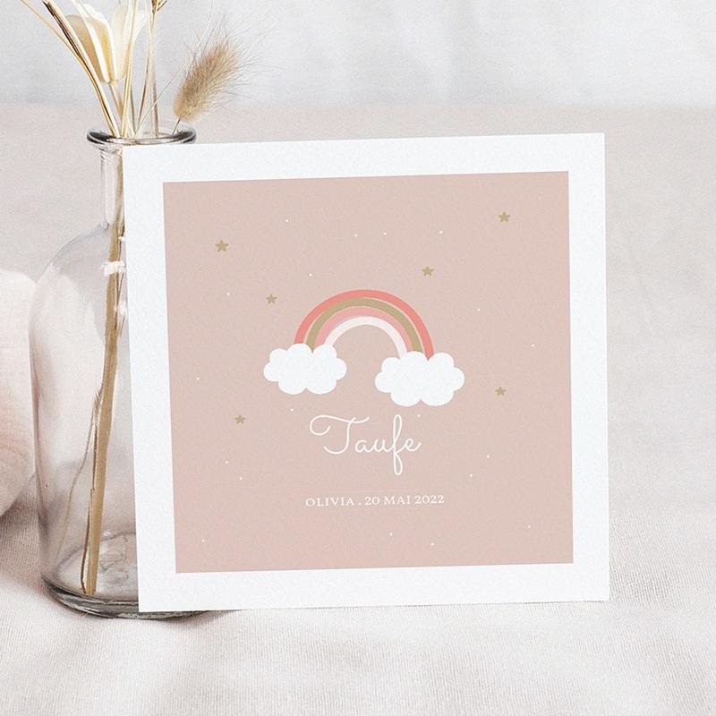 Einladungskarten Taufe für Mädchen Regenbogen