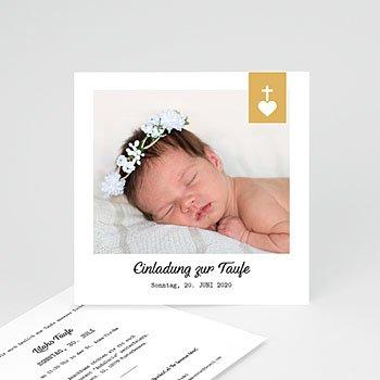 Einladungskarten Taufe Mädchen - Kreuz und Gold - 0