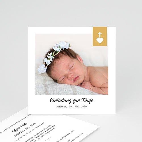 Einladungskarten Taufe Mädchen - Kreuz und Gold 59266 thumb