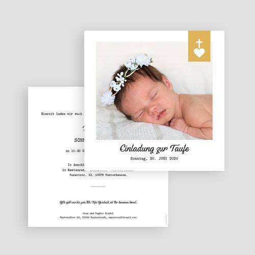 Einladungskarten Taufe Mädchen - Kreuz und Gold 59268 thumb