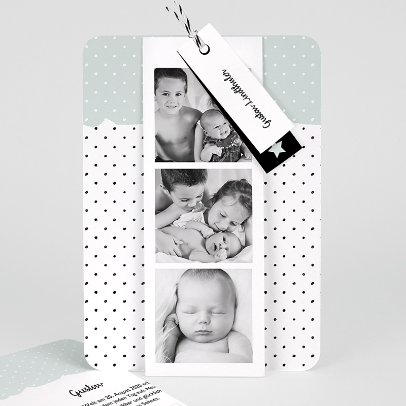 Geburtskarten Pastell-Mint