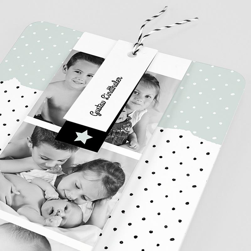 Geburtskarten mit Fotos Pastell-Mint pas cher