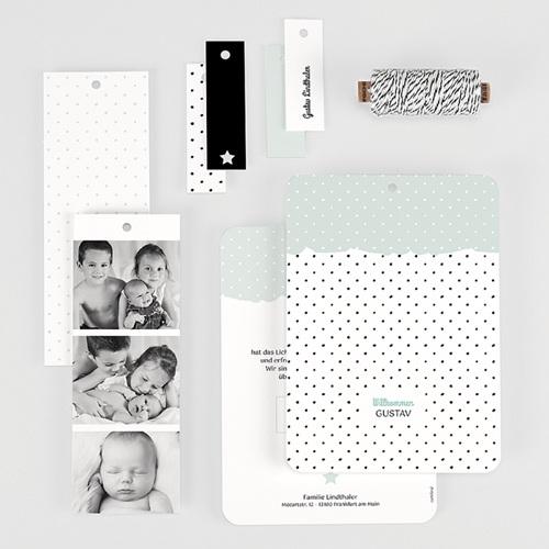 Geburtskarten mit Fotos Pastell-Mint gratuit