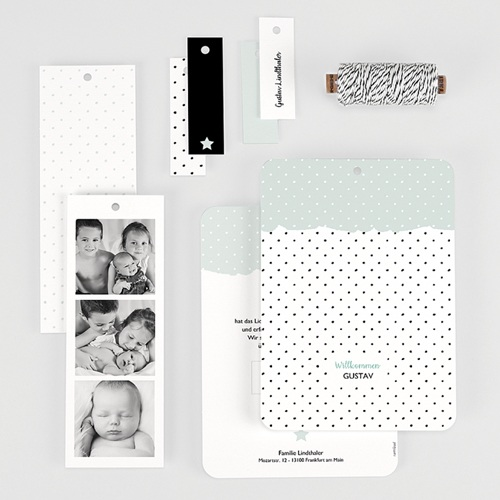 Geburtskarten Pastell-Mint gratuit