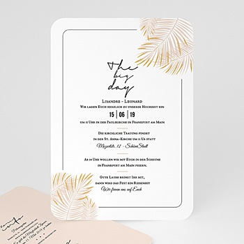 Kreative Hochzeitskarten - Palmenblatt Gold - 0