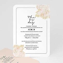 Einladungskarten Hochzeit  Palmenblatt Gold