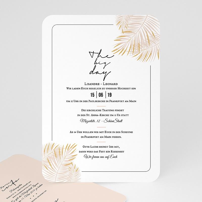 Hochzeitseinladungen Palmenblatt Gold