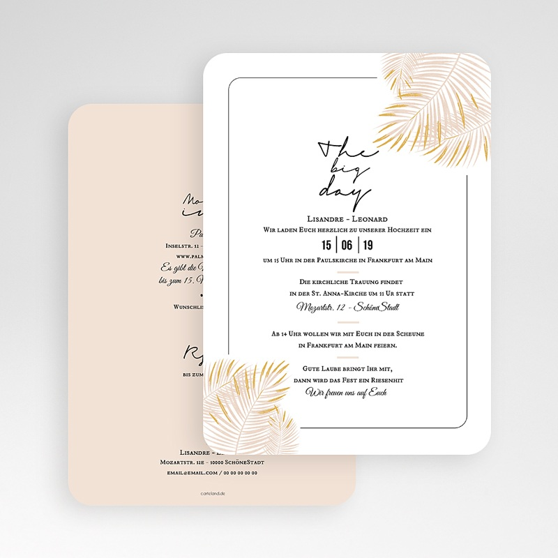 Hochzeitseinladungen Palmenblatt Gold gratuit