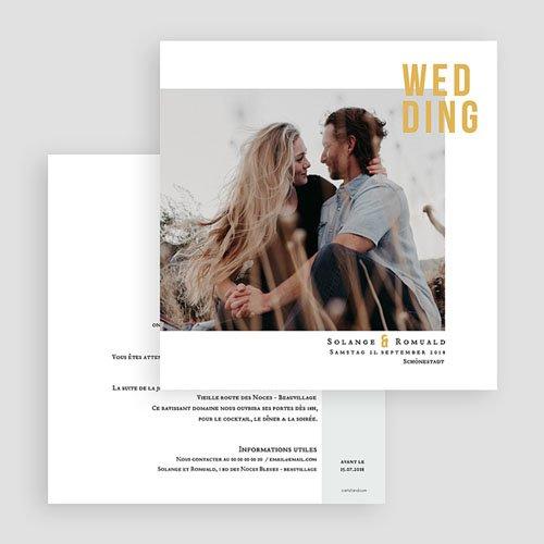 Hochzeitseinladungen Photo & Typo gratuit