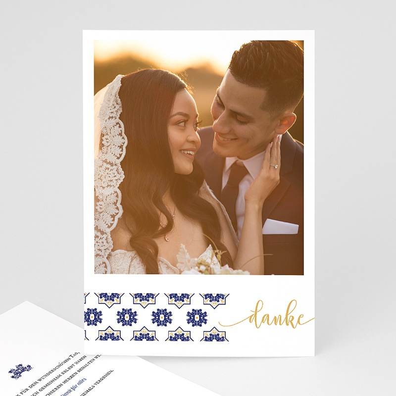 Orientalische Dankeskarten Hochzeit Ottomane Blau