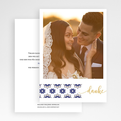 Orientalische Dankeskarten Hochzeit Ottomane Blau gratuit