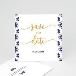 Save the date Hochzeit Ottomane Blau