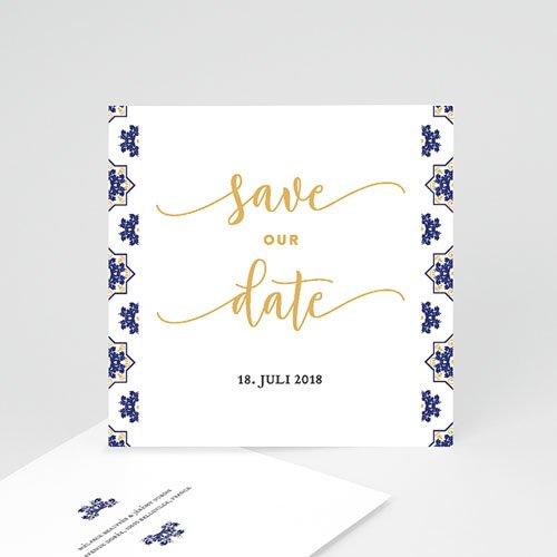 Save The Date Karten Hochzeit Ottomane Blau