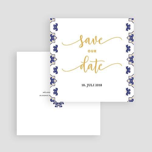 Save The Date Karten Hochzeit Ottomane Blau gratuit