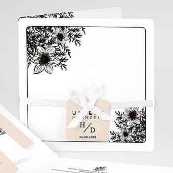Hochzeitskarten Vintage  - Black Flowers Pastel - 0