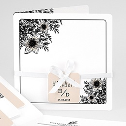 Hochzeitskarten Vintage  Black Flowers Pastel