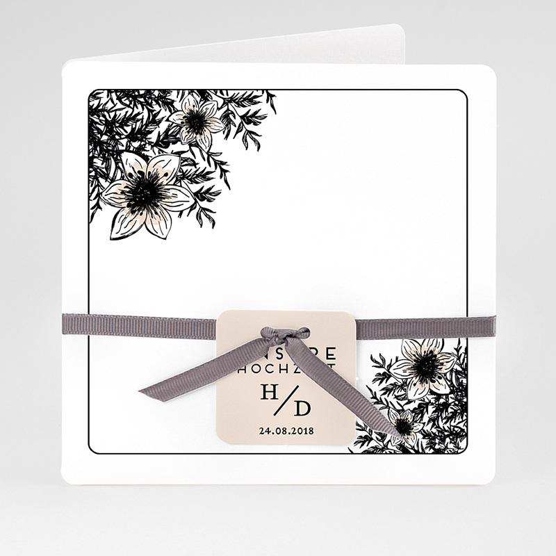 Hochzeitseinladungen Black Flowers Pastel