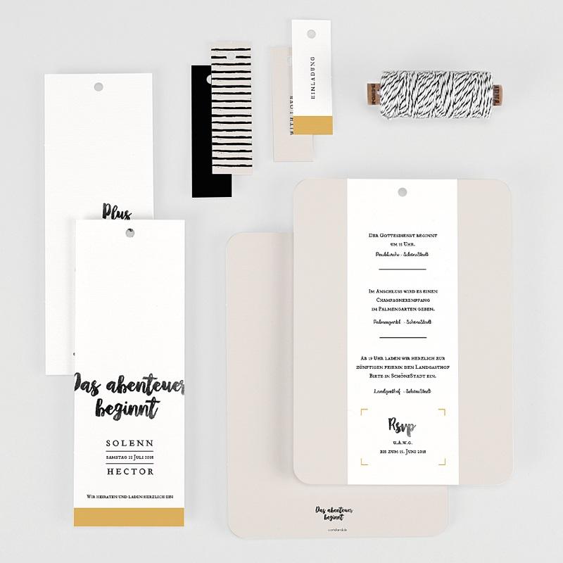 Kreative Hochzeitseinladungen Typo Abenteuer gratuit