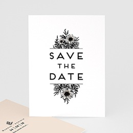 Save The Date  Black Flowers Pastel