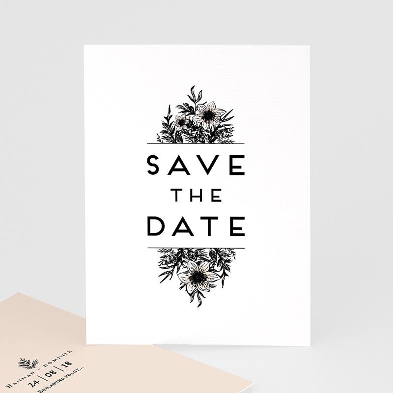 Save The Date Karten Hochzeit Black Flowers Pastel