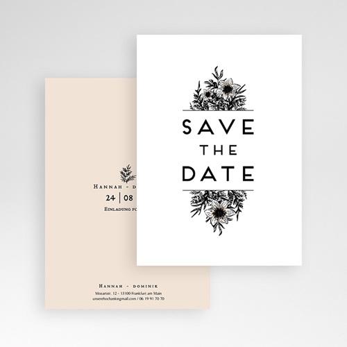 Save The Date Karten Hochzeit Black Flowers Pastel pas cher