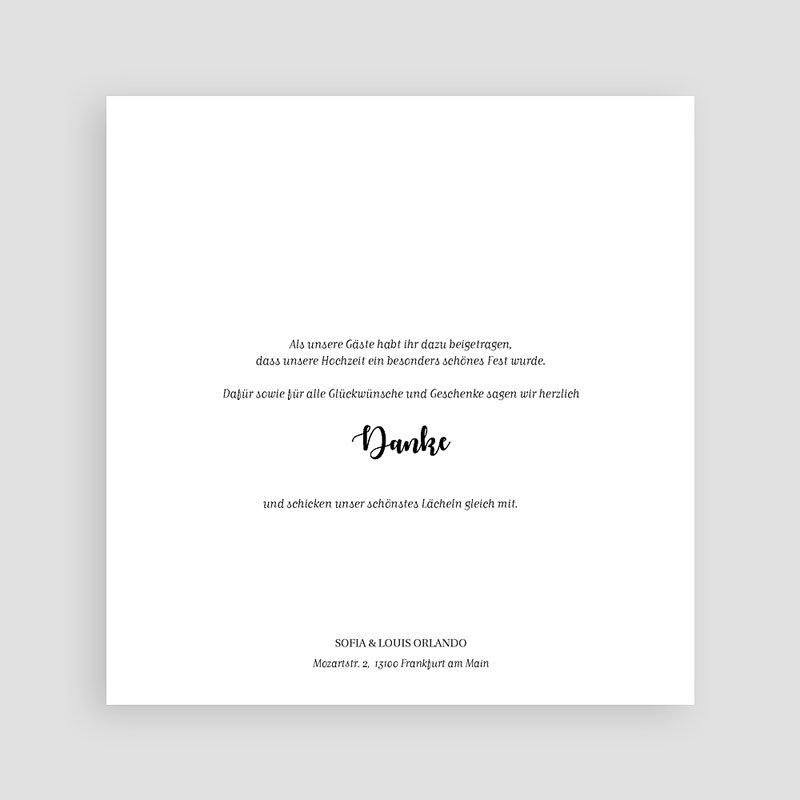 Dankeskarten Hochzeit mit Foto Typografisch und Form pas cher