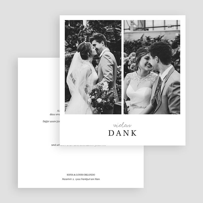 Dankeskarten Hochzeit mit Foto Typografisch und Form gratuit