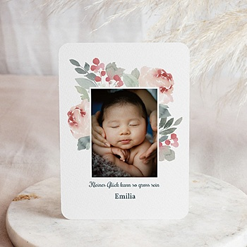 Geburtskarten für Mädchen - Flower Aquarell - 0