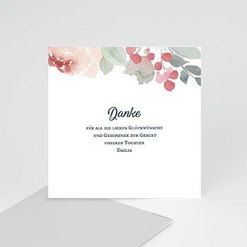 Dankeskarten Geburt Mädchen - Flower Aquarell - 0