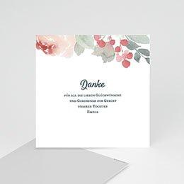 Dankeskarten Geburt Mädchen Flower Aquarell