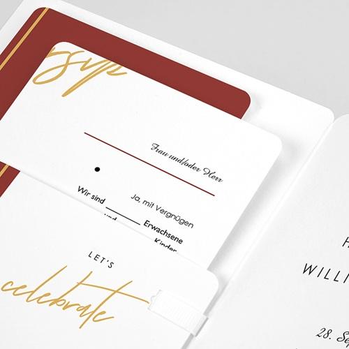 Hochzeitseinladungen Gold & Bordeaux pas cher