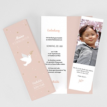 Einladungskarten Kommunion Mädchen Taube & Gold