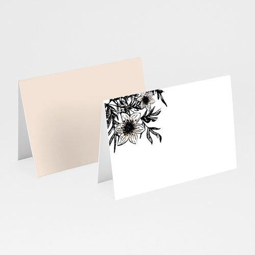 Tischkarten Hochzeit Black Flowers Pastel