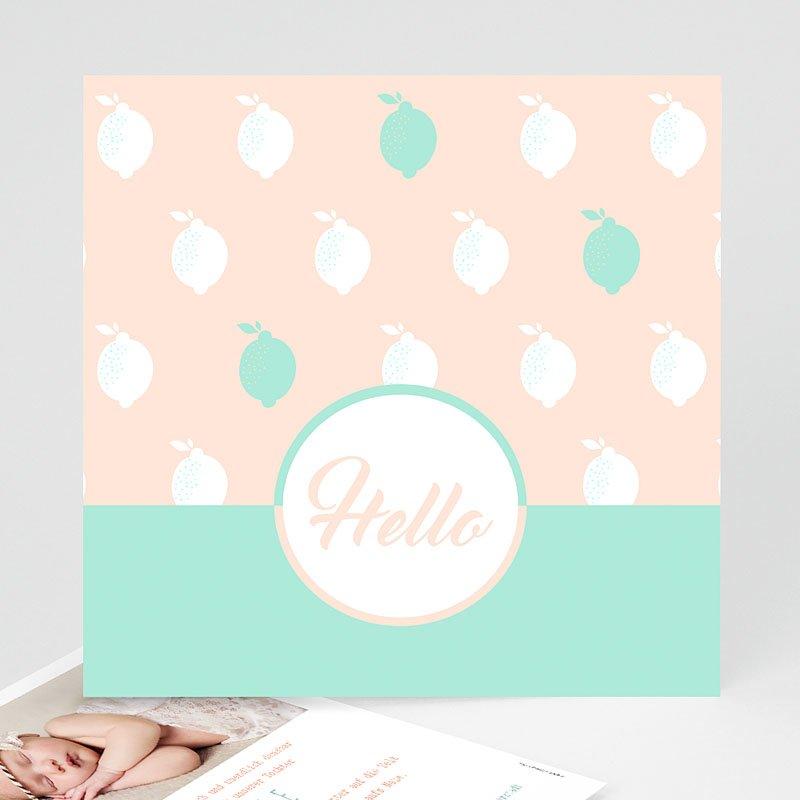 Geburtskarten für Mädchen Zitrone Mint