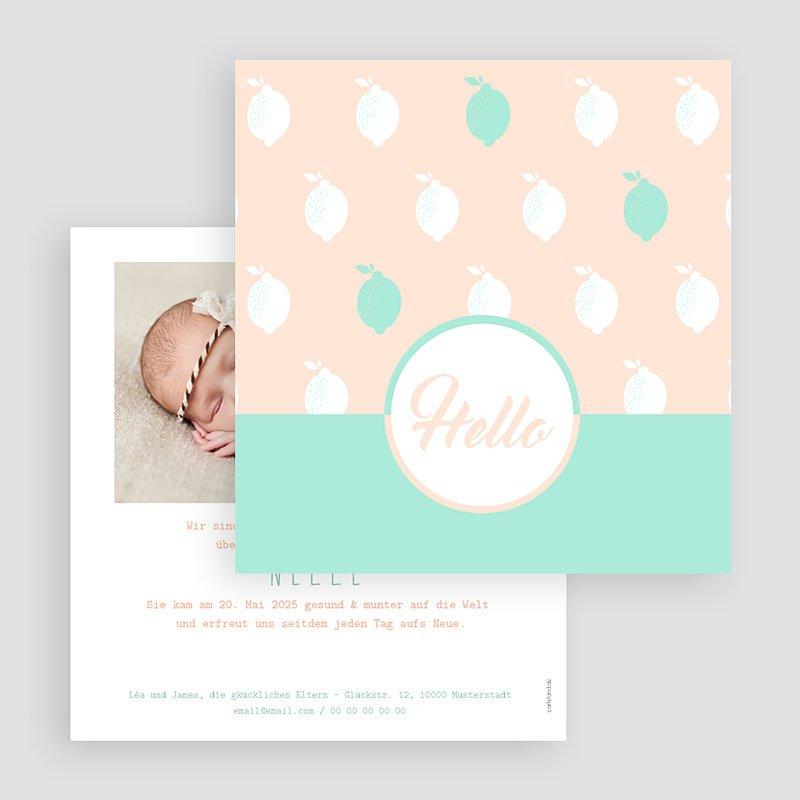 Geburtskarten für Mädchen Zitrone Mint gratuit