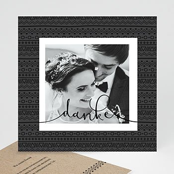 Dankeskarten Hochzeit mit Foto - Kraftpapieroptik - 0