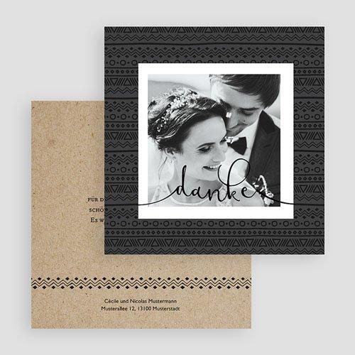Dankeskarten Hochzeit mit Foto Kraftpapieroptik gratuit