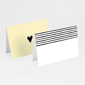 Tischkarten Hochzeit - Streifen & Gelb - 0
