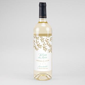 Flaschenetiketten Hochzeit - Goldschimmernde Blätter - 0